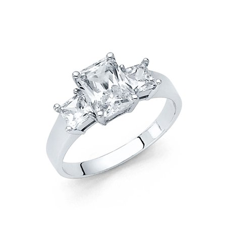 14K Solid White Gold Polished 2.25 cttw Rectangle Cubic Zirconia Wedding Engagement Ring wuth Side Stones, Size 4.5