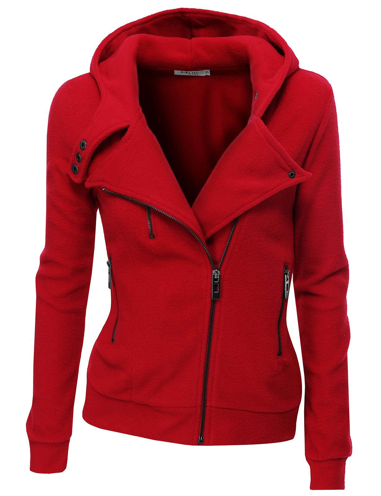 Doublju Women's Womens Oblique Zipper Slim Fit Hoodie Jacket RED XL