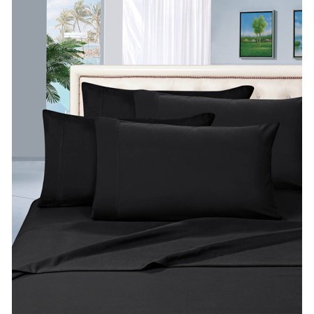 Elegant Comfort 6 Piece Wrinkle Resistant 1500 Thread Count Bed Sheet Set, Queen, Black