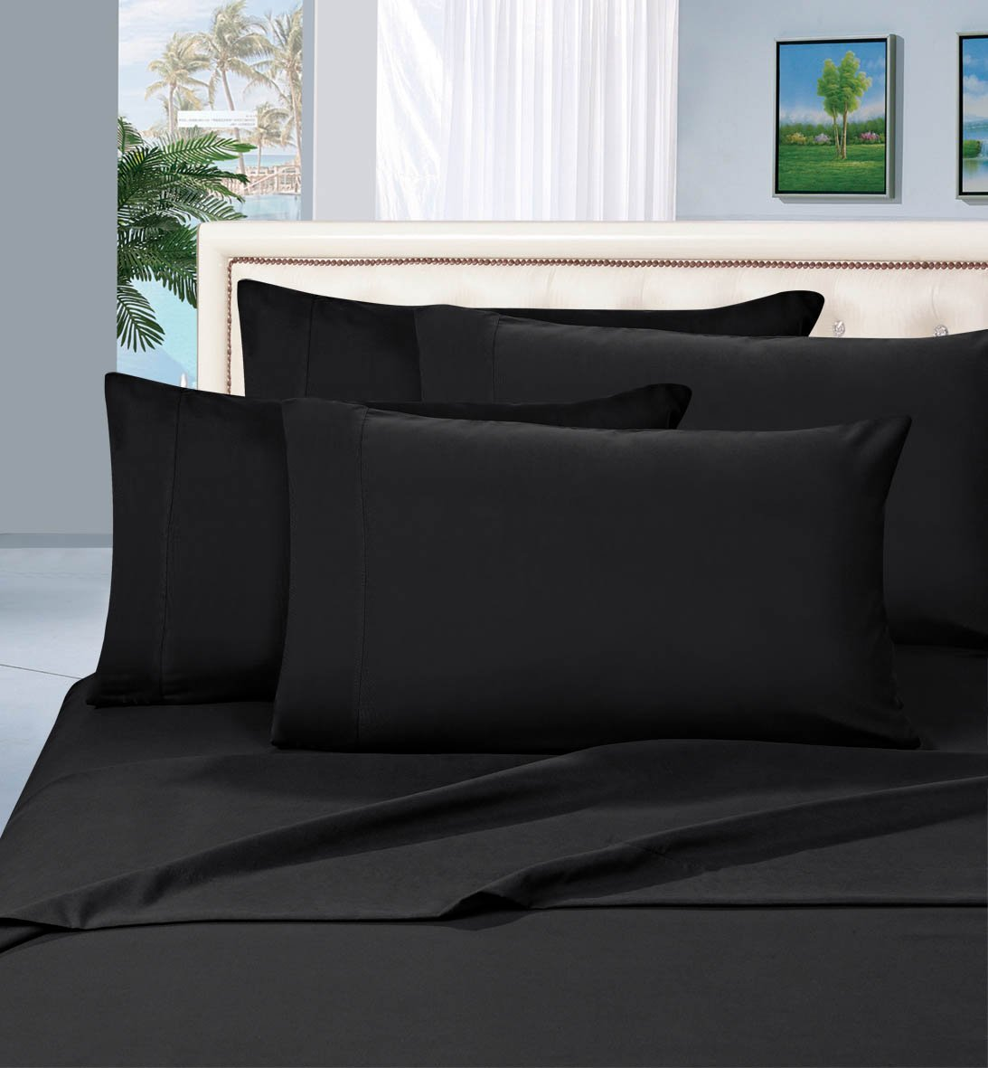 Elegance Linen® Wrinkle Resistant  6-Piece Bed Sheet Set - 1500 Thread Count  Silky Sof tSheet Set - Queen, Black