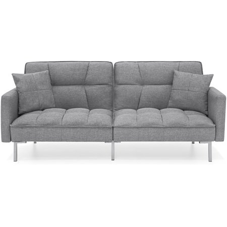 Best Choice Products Convertible Linen Splitback Futon Sofa Couch Furniture w/ Tufted Fabric, Pillows - Dark Gray
