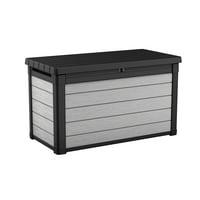Keter Denali 100 Gallon Deck Box, Plastic Resin Outdoor Storage, Gray and Black
