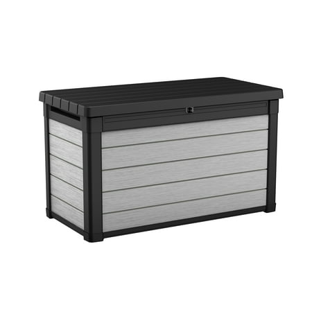Image of Keter Denali 100 Gallon Deck Box, Plastic Resin Outdoor Storage, Gray and Black