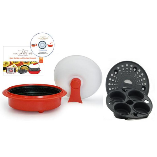 microHearth 4-Piece 1.5 Qt. Microwave Cookware Everyday Pan Set