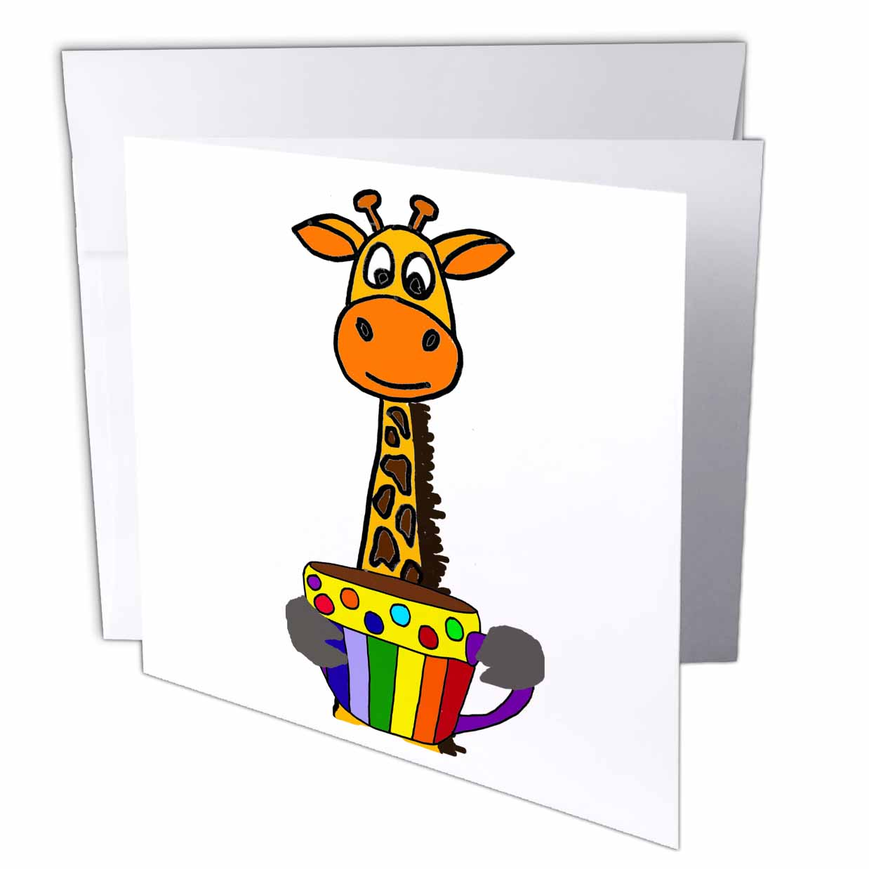 3drose Funny Giraffe Drinking Cup Of Coffee Pop Art Cartoon Greeting Cards 6 By 6 Inches Set Of 6 Walmart Com Walmart Com