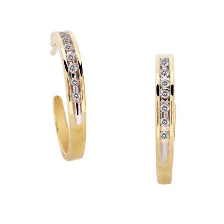 10K Yellow Gold 0.08cttw All Seasons Perfect Channel Round Diamond Hoop Earrings