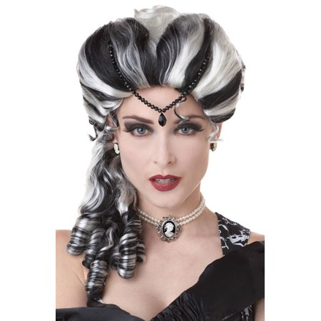 Victorian with Side Curls Costume Wig (Black/White) - Costume With Wig