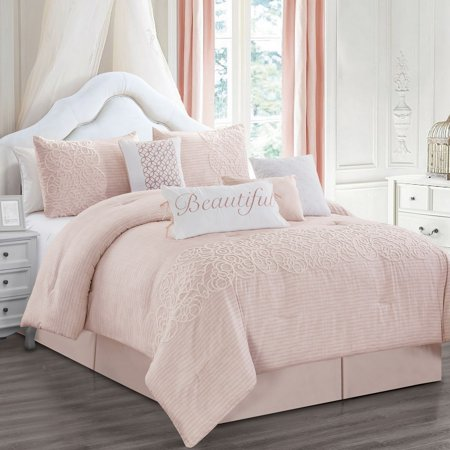 12 Piece Teresa Blush Bed in a Bag w/600TC Cotton Sheet Set ()