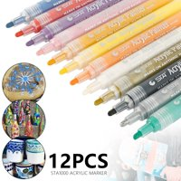 12 Colors Acrylic Paint Markers, Point Acrylic Paint Pens Set by Smart Color Art, Permanent Water Based, Great for Rock, Wood, Fabric, Glass, Metal, Ceramic, DIY Crafts and Most Surfaces