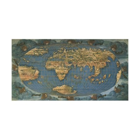 World Map on Oval Projection, Created in Florence Circa 1508 Print Wall Art By Francesco