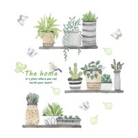 AkoaDa Cartoon Cactus Pot Green Plants Leaves Butterflies Pastoral Style Wall Stickers Wall Decal Removable Art Wall Decals for Bedroom Living Room Nursery Room Children Bedroom