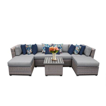 Catalina 7 Piece Outdoor Wicker Patio Furniture Set (Whitney Design Wicker)