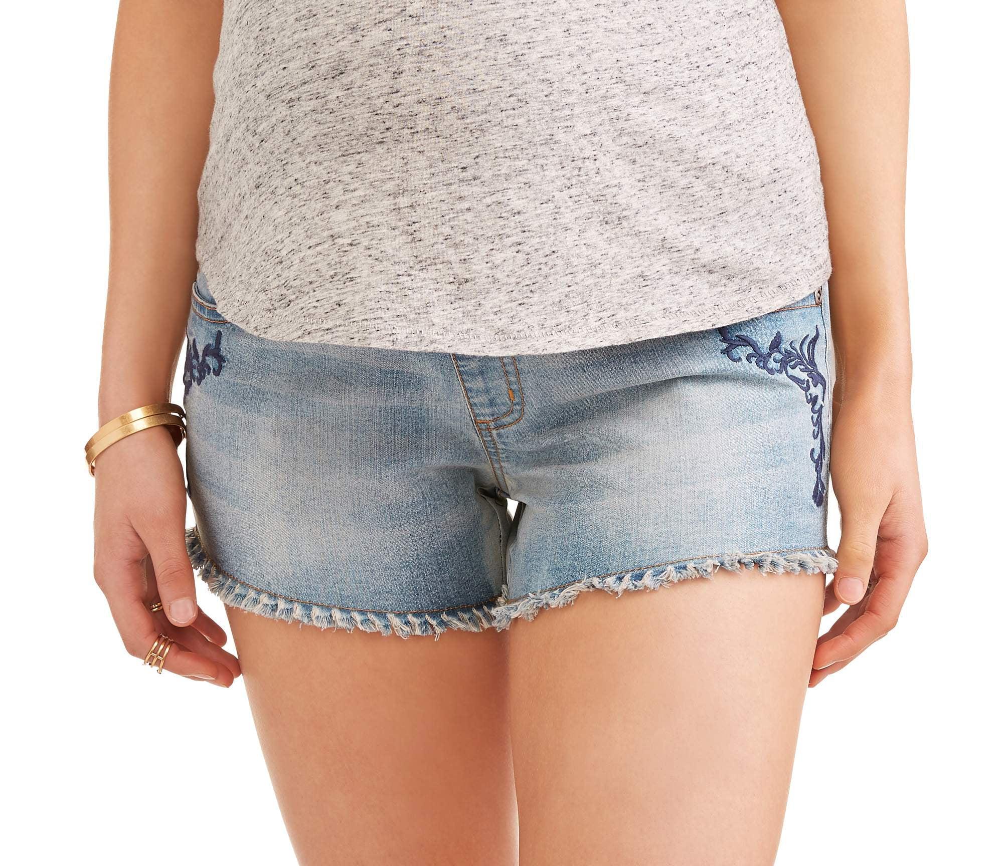 Maternity Jean Shorts w  Frayed Hem Detail by Generic