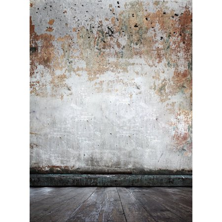 Concrete Fabric - MOHome Polyester Fabric 5x7ft Shabby Concrete Wall Wooden Floor Photography Indoor Backdrop Prop Photo Background