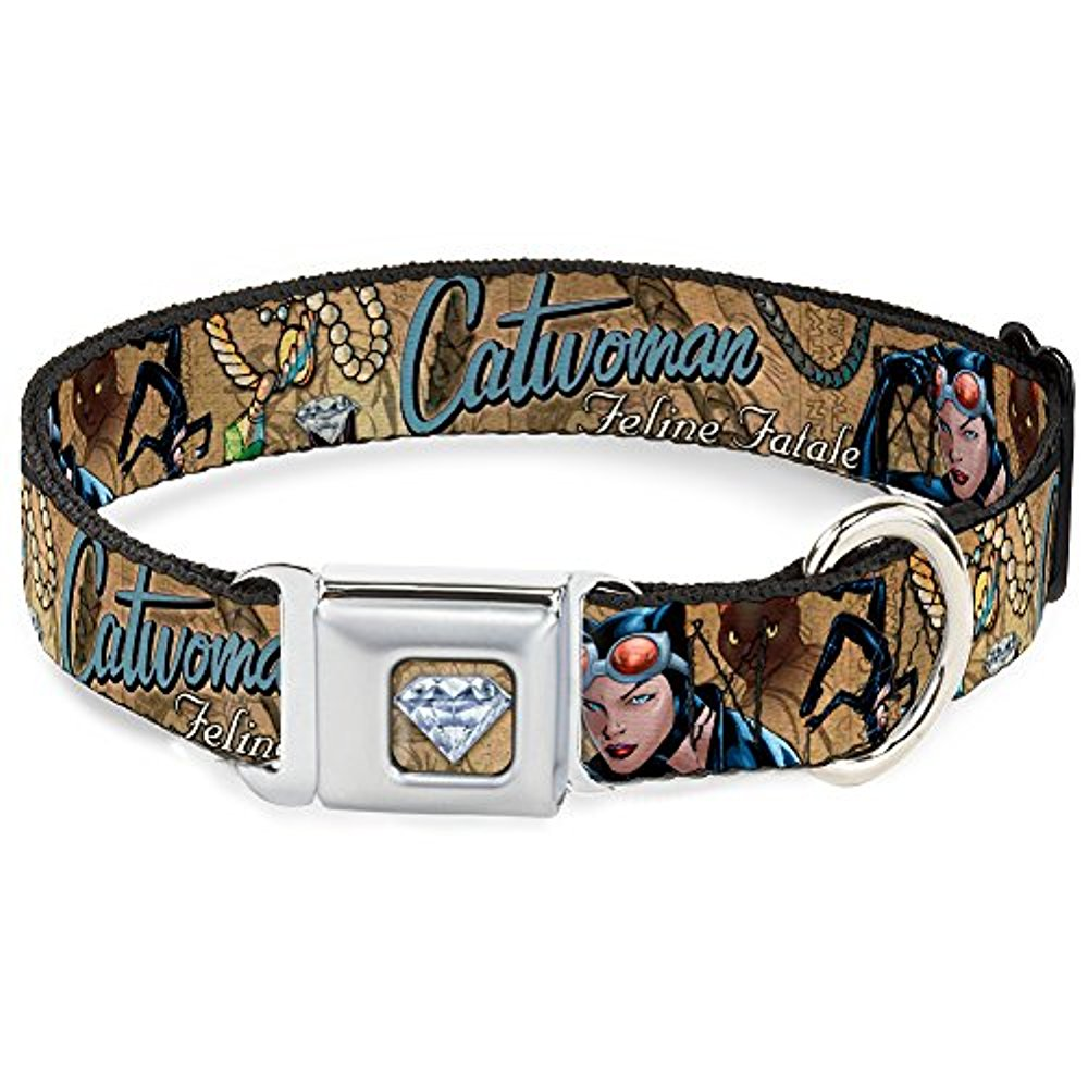 Dog Collar CWG-Catwoman Diamond Full Color Tans - CATWOMAN-NINE LIVES OF A Pet Collar