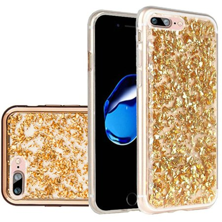 For Apple iPhone 8 Plus iPhone 7 Plus Frozen Glitter with Electroplated Chrome Bumper Edges - Gold/Gold