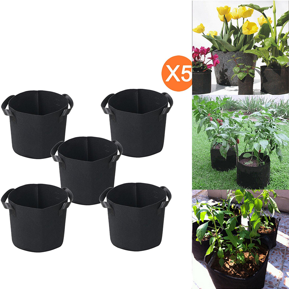 Ktaxon 2 gallon 5 Bags Grow Bag Round Planter Bags Fabric Pots With Handles for Planting