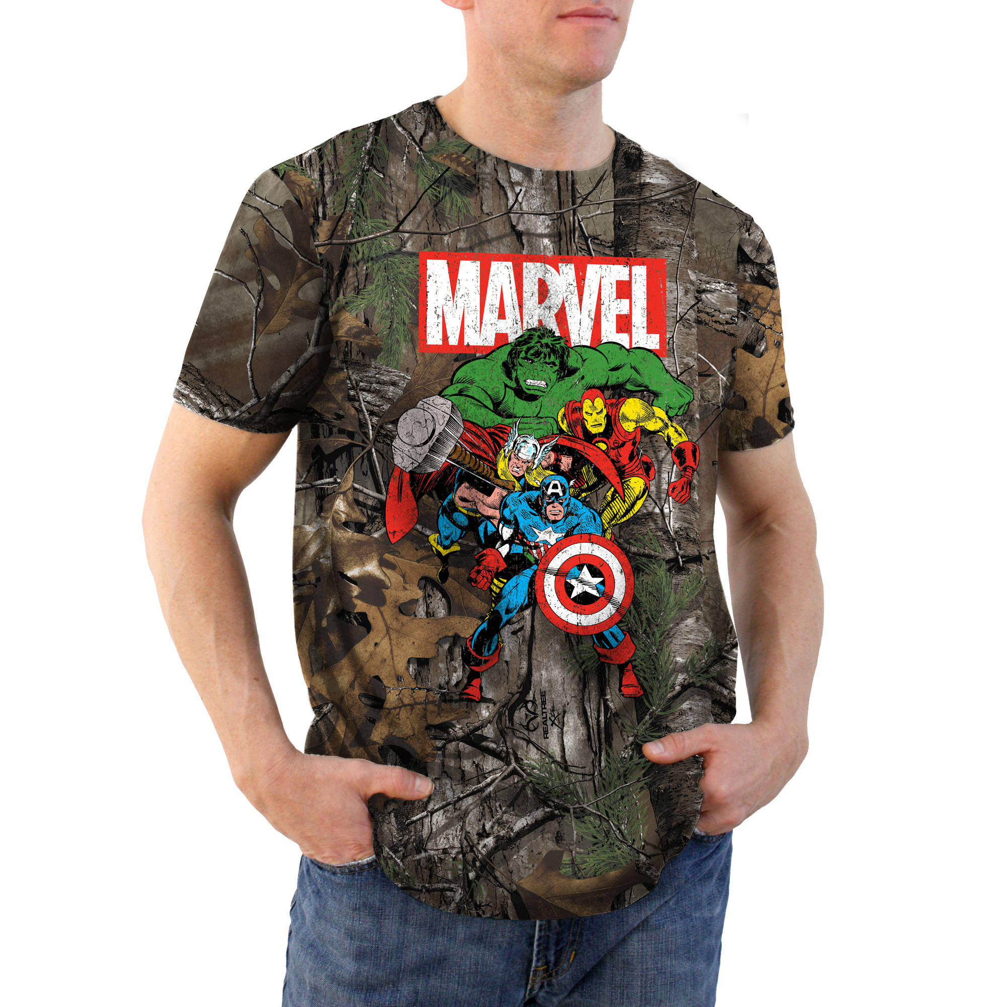 Avengers Title Realtree Camo Men's Graphic Tee