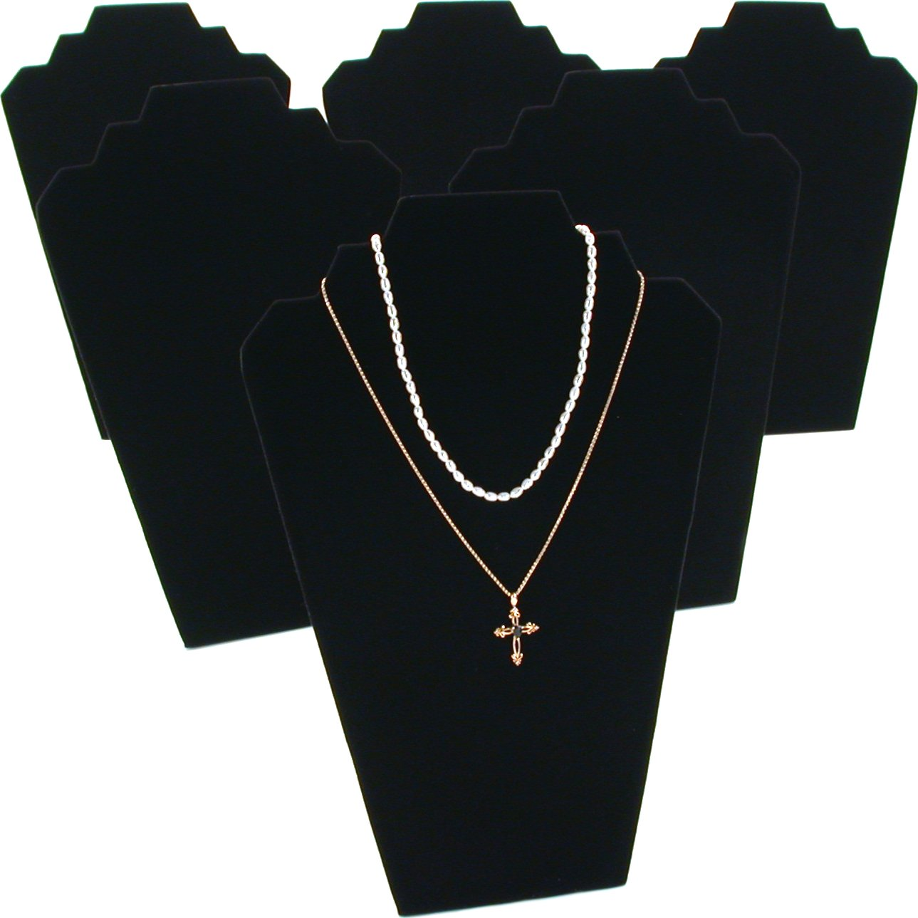 6 Black Velvet Padded 2 Tier Necklace Pendant Bust Showcase Displays 12.5""