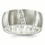 Edward Mirell Titanium 925 Sterling Silver .10ctw Diamond 10mm Band Ring Size 11.50 Wedding Channel Man Fancy Precious Metal Fine Jewelry Dad Mens Gift Set
