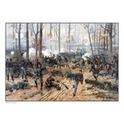 This Civil War painting shows Union and Confederate troops at The Battle of Shiloh Canvas Art - John