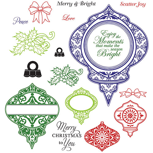 "JustRite Papercraft Cling Stamps 5.5""X8.5""-Merry & Bright"