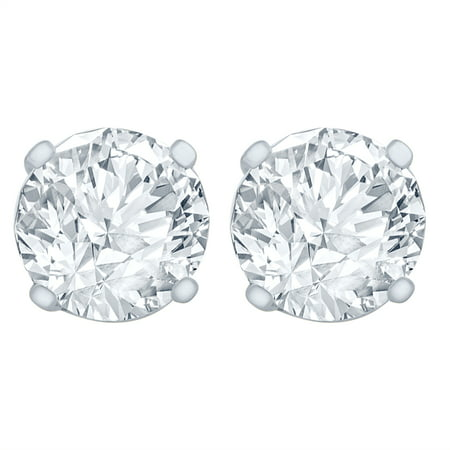 CYNERGY 1/4 Carat Diamond Stud Earrings (I2I3 Clarity, JK Color) 14kt White Gold Bezel Setting Diamond Stud Earring