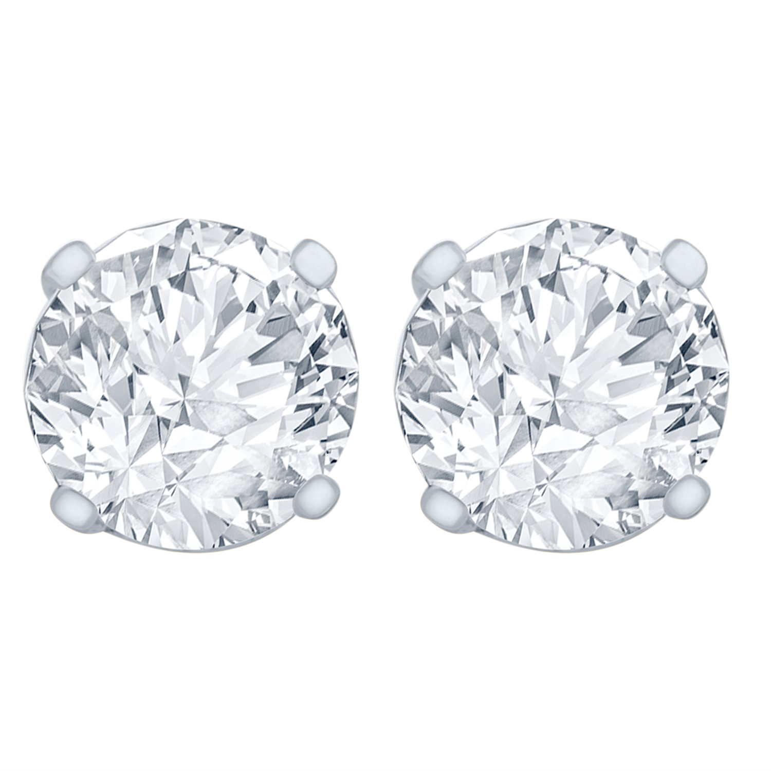 1/4 Carat Diamond Stud Earrings (I2I3 Clarity, JK Color) 14kt White Gold