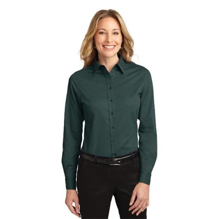 Port Authority L608 Ladies Long Sleeve Easy Care Shirt, Dark Green & Navy - Extra Small - image 1 de 1