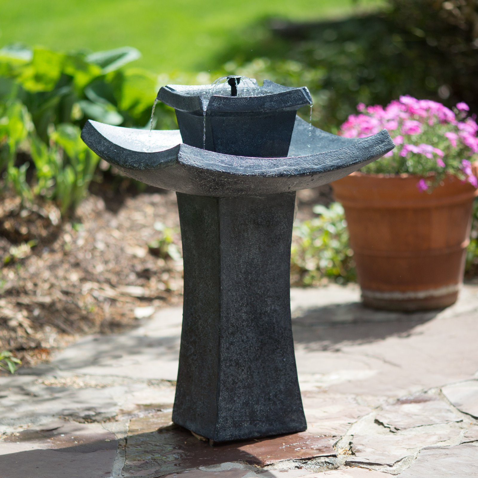 Modern Zen Solar-on-Demand Outdoor Fountain by Fountains