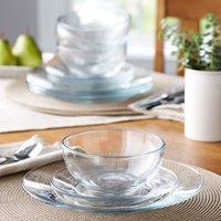 Mainstays 12-Piece Round Clear Glass Dinnerware Set
