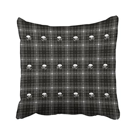 WinHome Square Throw Pillow Covers Retro Cool White And Black Plaid Skull Hip Decor Pillowcases Polyester 18 X 18 Inch With Hidden Zipper Home Sofa Cushion Decorative Pillowcase