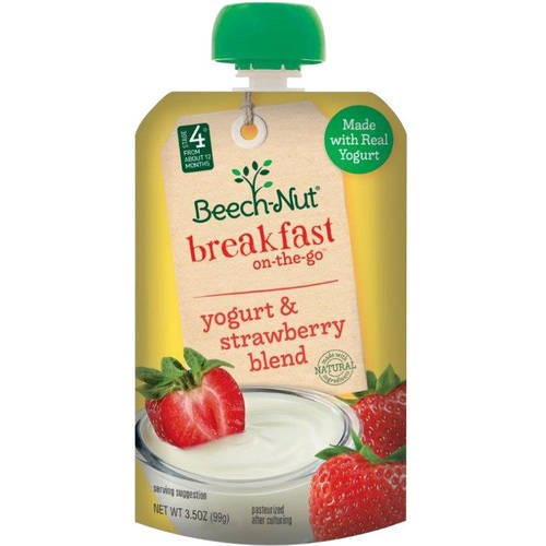 Beech-Nut Breakfast on-the-Go Yogurt & Strawberry Blend Baby Food, 3.5 oz, (Count of 12)
