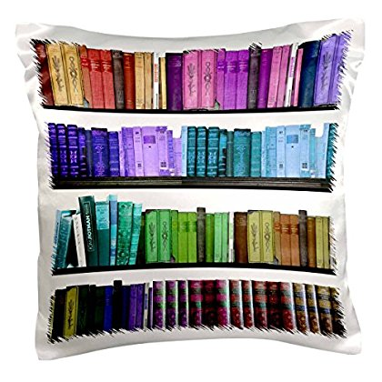 3dRose Colorful bookshelf books - Rainbow bookshelves - reading book geek library nerd - librarian author, Pillow Case, 16 by 16-inch