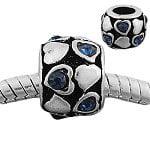Buckets of Beads Hearts Rhinestone Charm Bead, Blue