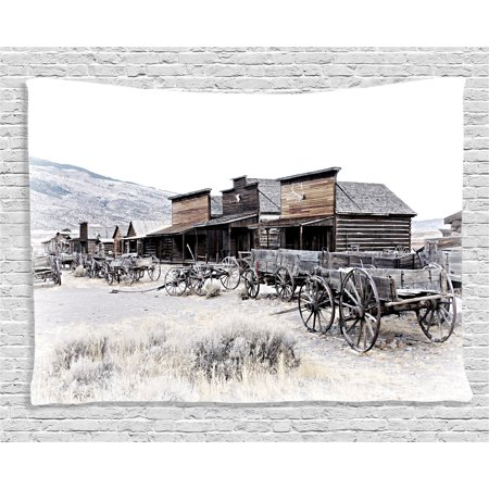 Western Decor Tapestry, Old Wooden Wagons from 20's in Ghost Town Antique Wyoming Wheels Art Print, Wall Hanging for Bedroom Living Room Dorm Decor, 60W X 40L Inches, Brown White, by Ambesonne - Old Western Decor