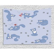 Boy's Tapestry, Playful Cat in Funny Poses with Bowtie Ball of Yarn and a Mouse Grey Paw Prints, Wall Hanging for Bedroom Living Room Dorm Decor, 80W X 60L Inches, Blue Purple Grey, by Ambesonne