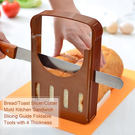 HAOFY Bread Slicer Toast Slicer Toast Cutting Guide Bread Toast Bagel Loaf Slicer Cutter Mold Sandwich Maker Toast Slicing Machine Folding and Adjustable with 4 Slice