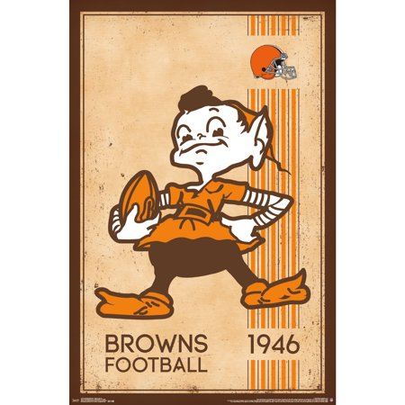 Cleveland Browns 22'' x 34'' Retro Logo Poster - No Size