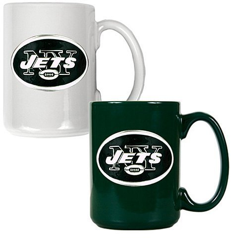 New York Jets 2pc Multi Color Coffee Mug Set