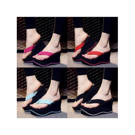 Women Summer Flip Flops Wedges Sandals High Heels Platform Skidproof Beach Shoes