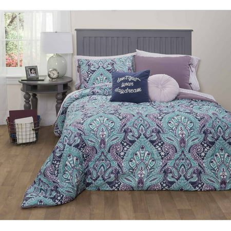 Formula Mia Damask Bed In A Bag Bedding Set Queen