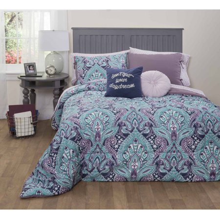 formula mia damask bed in a bag bedding set queen. Black Bedroom Furniture Sets. Home Design Ideas