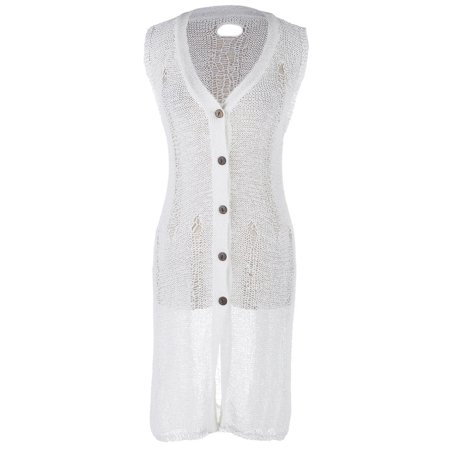 S/M Fit White Crochet Front Buttoned Plunging Neckline Cardigan (Crochet Button)