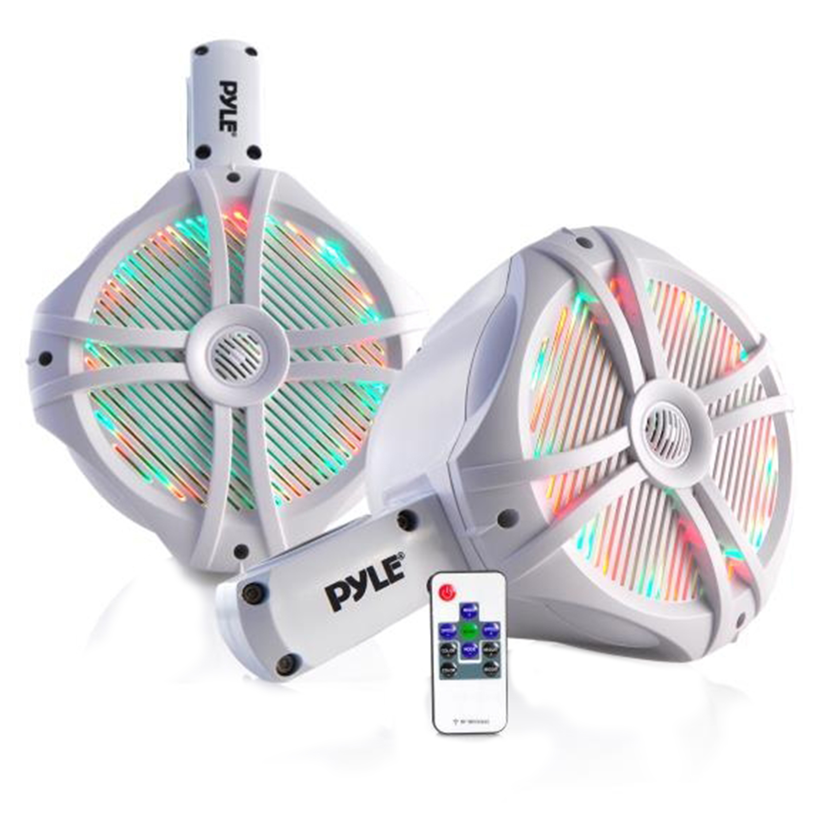 "Dual Marine Wakeboard Water Resistant Speakers, Built-in Programmable Multi-Color LED Lights, 8"" Tower Speakers,... by Pyle"