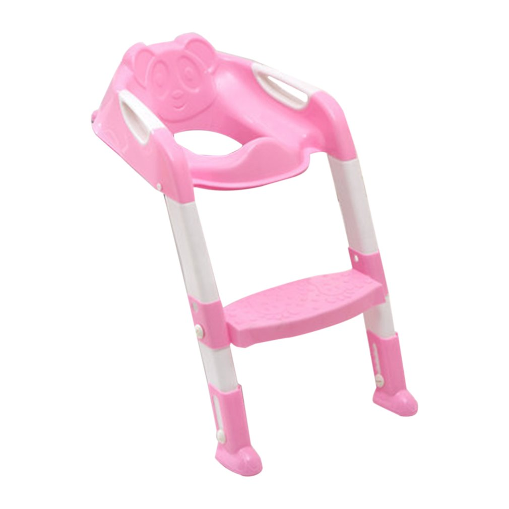 New Commode Foldable Children Potty Seat With Ladder Cover PP Toilet Adjustable Chair Pee Training Urinal Seating Potties for Boys Girls, Pink