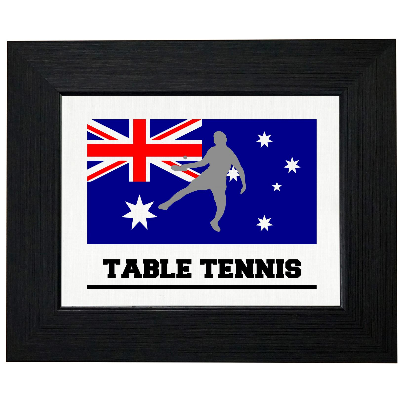 Australia Olympic Ping Pong Flag Silhouette Framed Print Poster Wall or Desk Mount Options by Royal Prints