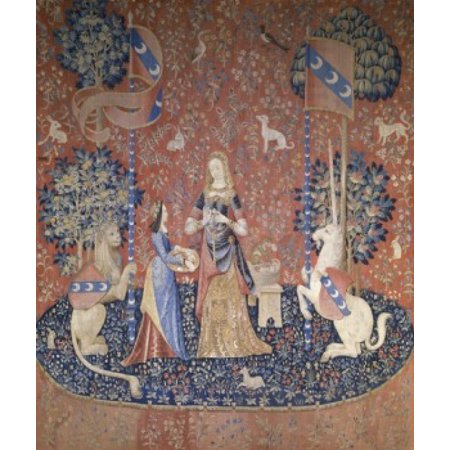 Lady and the Unicorn - Sense of Smell 15th Century Tapestry Musee National du Moyen Age Thermes & Hotel de Cluny Paris France Poster (15th Century Tapestry)