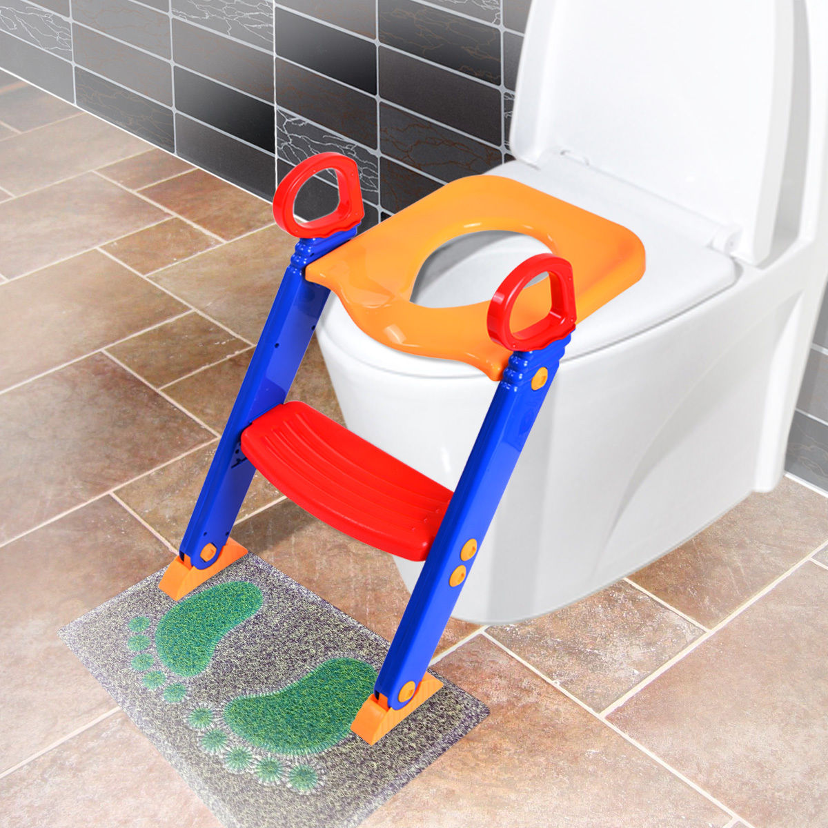 Kids Training Toilet Trainer Toilet Seat Chair Toddler With Ladder Step Up Stool by Jaxpety