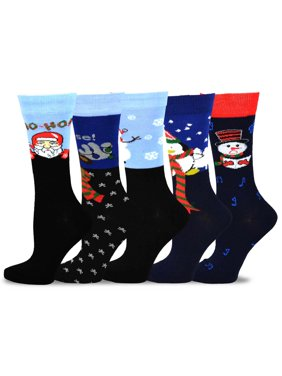 TeeHee Christmas and Holiday Fun Crew Socks for Women 5-Pack